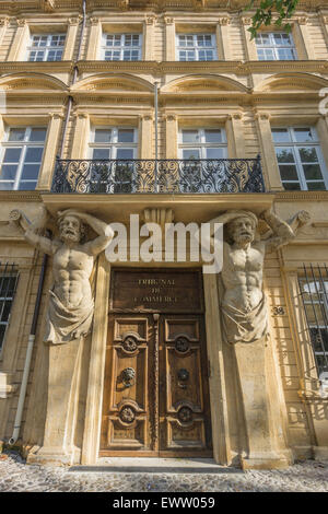 Dorway with caryatids, Tribunal de Commerce, Atlas Firgures,   Cours Mirabeau, Aix-en-Provence, Bouches-du-Rhone - Stock Photo