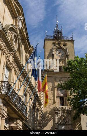 Market Place, Town Hall, Hotel de Ville, Clock Tower, Aix-en-Provence - Stock Photo