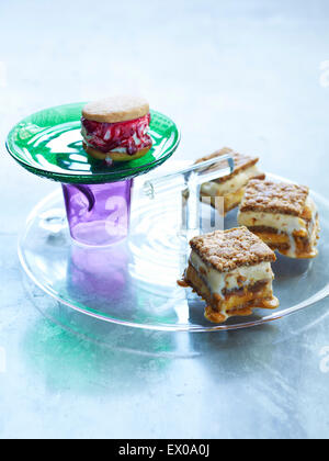 Still life with plates of ice cream and biscuit sandwich dessert - Stock Photo