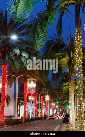 Rodeo drive, Beverly Hills, Los Angeles, Californa during Christmas at night. - Stock Photo