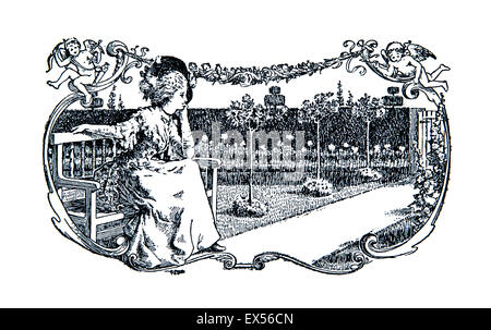 Elegant late Victorian woman sitting on bench in garden, 1895 illustration by Paul Woodroffe, from Ye Booke of Nursery - Stock Photo