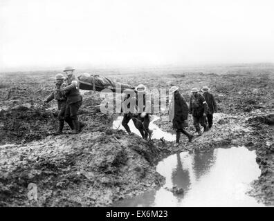 Canadian soldiers wounded at the Second Battle of Passchendaele was the culminating attack during the Third Battle - Stock Photo