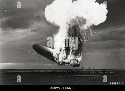 The Hindenburg disaster took place on Thursday, May 6, 1937, as the German passenger airship LZ 129 Hindenburg caught - Stock Photo