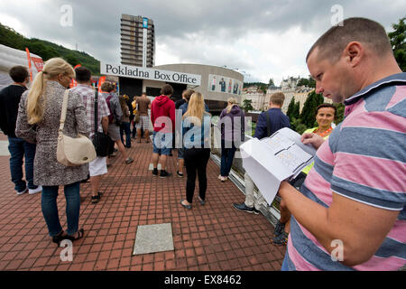 Karlovy Vary, Czech Republic. 9th July, 2015. Atmosphere during the 50th International Film Festival in Karlovy - Stock Photo