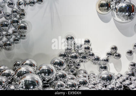 Metallic balls gray pearls abstract background - Stock Photo