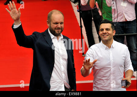 Karlovy Vary, Czech Republic. 9th July, 2015. Producers David Ondricek (left) and Pete Shilaimon greet fans as they - Stock Photo