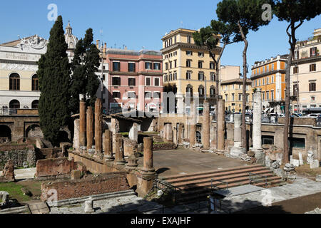 Roman ruins in the Sacred Area (Area Sacra) of Largo Argentina, Rome, Lazio, Italy, Europe - Stock Photo