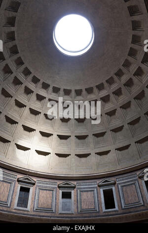 Interior view of the cupola inside the Pantheon, UNESCO World Heritage Site, Piazza della Rotonda, Rome, Lazio, - Stock Photo