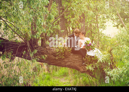 Bride and groom sitting fallen in love on a tree, - Stock Photo