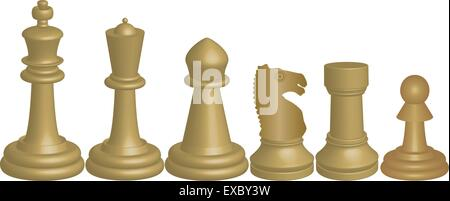 A Vector image of White Chess Pieces King Queen Bishop Knight Rook and Pawn isolated on white - Stock Photo