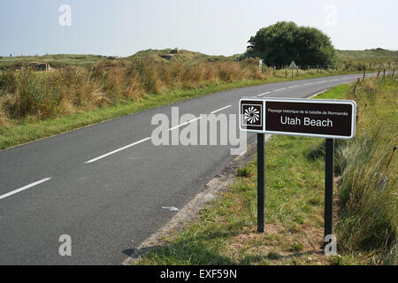 Road sign for Utah Beach the D-day landing site in Normandy, France - Stock Photo