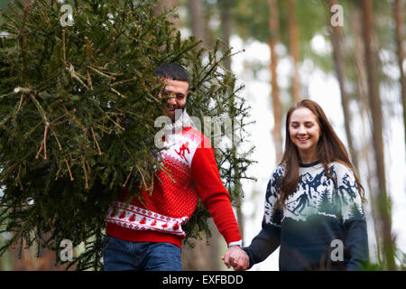 Young couple carrying Christmas tree on shoulders in woods - Stock Photo