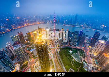 Shanghai, China downtown city skyline over Lujiazui District. - Stock Photo