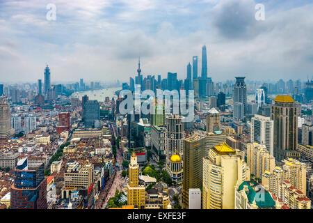 Shanghai, China aerial skyline. - Stockfoto