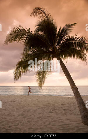 Man jogging on beach at sunrise, Negril, Jamaica - Stock Photo