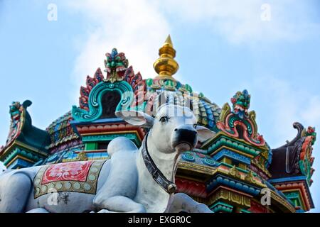 An Ornate Statue Of A Hindu Sacred Cow At The Sri Mariamman Temple, Singapore. - Stock Photo