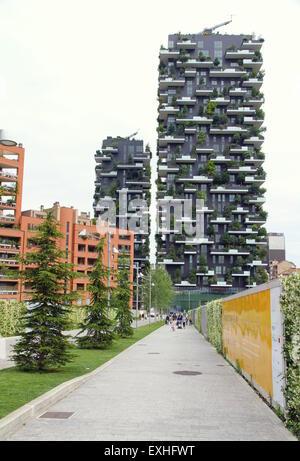 Bosco Verticale buildings in Milan, Italy - Stock Photo
