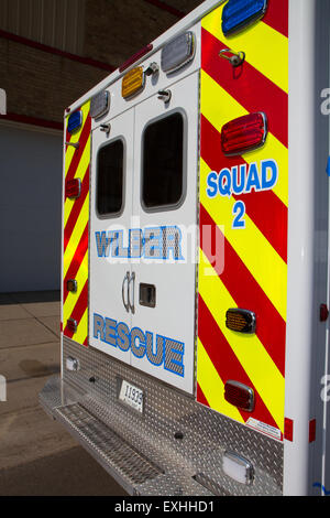 Ambulance, rural volunteer fire department, equipment - Stock Photo