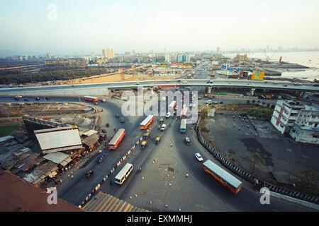 Bandra flyover bridge Bombay Mumbai Maharashtra India - Stock Photo