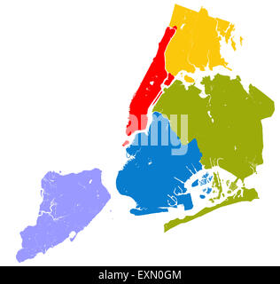Five boroughs of New York City - outline map - Stock Photo