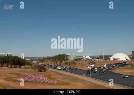 Brasilia, Brazil. Esplanada, Eixo Central, Traffic, Ministries, Congress buildings, cathedral and National Museum. - Stock Photo