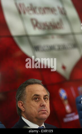Moscow, Russia. 16th July, 2015. Russia's Sport Minister Vitaly Mutko speaks at a press conference on the upcoming - Stock Photo