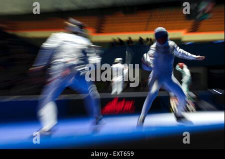 Moscow, Russia. 16th July, 2015. DERIGLAZOVA Inna of Russia and LYCZBINSKA Hanna of Poland compete during the Women's - Stock Photo