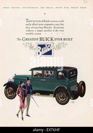 1920s Usa Buick Division Of General Motors Magazine Advert