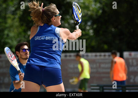 Moscow, Russia, 16th July, 2015. Mixed double Suzy Madge and Yiannis Toumazis of Great Britain in the match against - Stock Photo