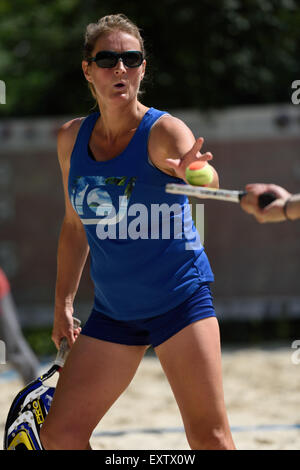 Moscow, Russia, 16th July, 2015. Suzy Madge of Great Britain in the mixed double match against Israel during the - Stock Photo