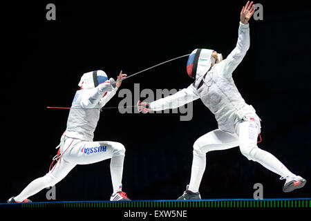 Moscow, Russia. 16th July, 2015. Aida Shanaeva of Russia (L) competes with Inna Deriglazova of Russia during women's - Stock Photo