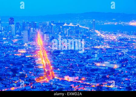 San Francisco - Oakland Bay Bridge, San Francisco, California, USA - Stock Photo