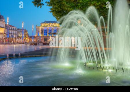 Place de la Comédie with opera, Montpellier, France, Europe - Stock Photo