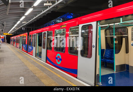 Docklands Light Railway - (DLR) - train in London, England, UK - Stock Photo