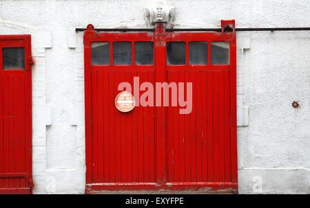 red door-garage-france - Stock Photo