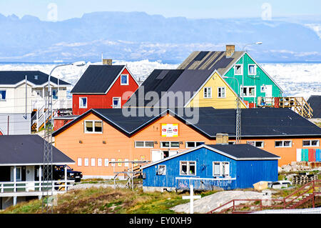 Ilulissat, Greenland - August 18, 2012: View of the colorful building of Ilulissat. - Stock Photo