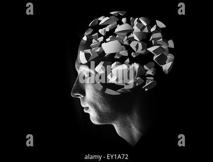 Male head profile with 3d explosion brain fragments on black background - Stock Photo