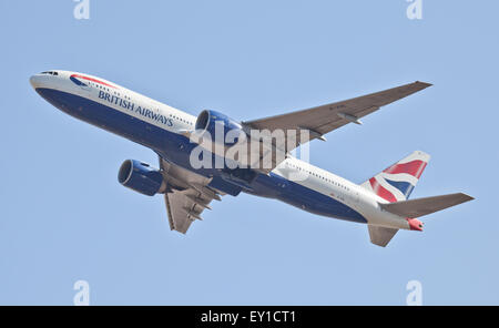 British Airways Boeing 777 G-VIIL departing London-Heathrow Airport LHR - Stock Photo