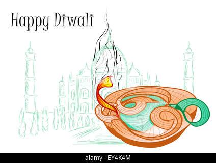 holiday of diwali. stylish glowing diwali diya background - Stock Photo