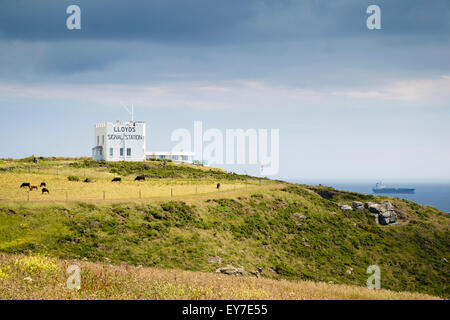 LLoyds Signal Station on the South West Coast Path cliffs overlooking the sea near Lizard Point, Cornwall, England, - Stock Photo