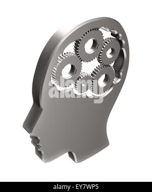 Cogs inside a human head outline - memory and cognitive functions concept illustration - Stock Photo
