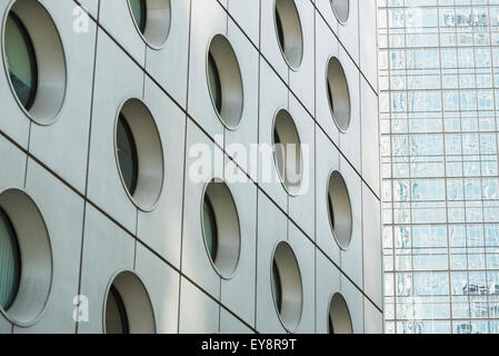 Detail of the facade of two famous skyscrapers in Central Hong Kong; Hong Kong, China - Stock Photo