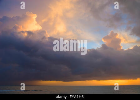 Coast Of Treasure Beach At Sunset, Jamaica - Stock Photo