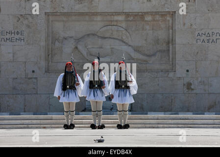 Evzones or Tsoliades prepare to march in front of the Unknown soldier memorial for the fallen heroes, Syntagma, - Stock Photo