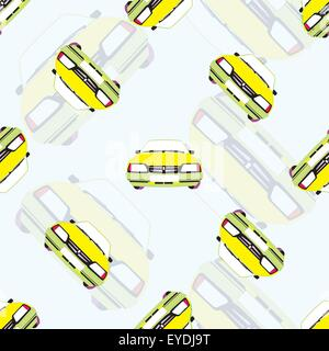 vector seamless background with kids toy cars - Stock Photo