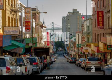 Oakland Bay Bridge from a street in Chinatown,San Francisco ,California, USA - Stock Photo