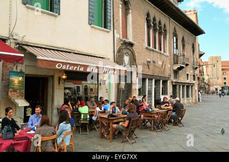Osteria alla Bifora - Italian cafe bar restaurant at campo Santa Margherita, Venice, Italy - Stock Photo