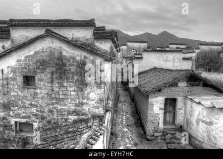 Ancient buildings in Anhui province, China. black and white tone. - Stock Photo