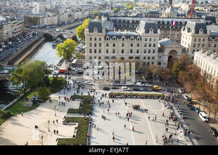 View of Paris from above at Notre Dame - Stock Photo