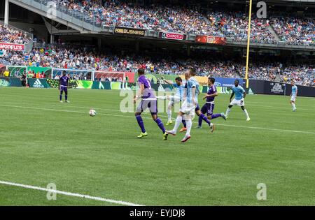 New York, NY - July 26, 2015: David Villa (7) scores goal during game between New York City Football Club and Orlando - Stock Photo